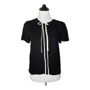 ZARA Bow Front Top Black White Contrast Blouse M